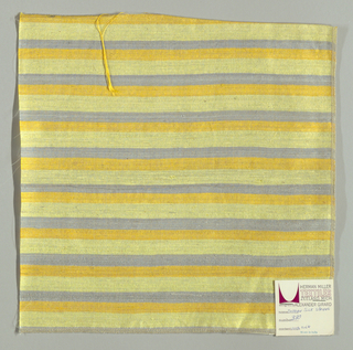 Weft-faced plain weave with doubled wefts in uneven horizontal stripes of grey, dark yellow and pale yellow. Warp is comprised of very fine light grey threads. Number 380.
