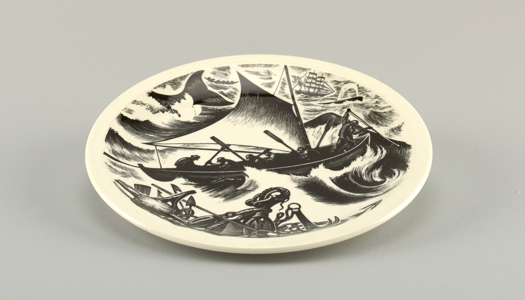 """(a): Bisque dinner plate with narrow marli. (b): Glazed dinner plate, same shape. (c): Glazed dinner plate decorated iwth planograph """"Whaling"""" after woodcut by clare Leighton. Legend, mark and signature on back. (d): plaster mold of inside of plate; bottom with circular cavity to fit on machine called """"jigger""""."""