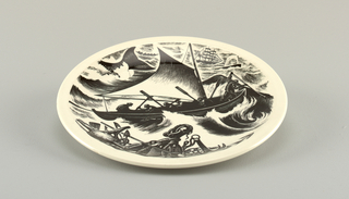 "(a): Bisque dinner plate with narrow marli. (b): Glazed dinner plate, same shape. (c): Glazed dinner plate decorated iwth planograph ""Whaling"" after woodcut by clare Leighton. Legend, mark and signature on back. (d): plaster mold of inside of plate; bottom with circular cavity to fit on machine called ""jigger""."