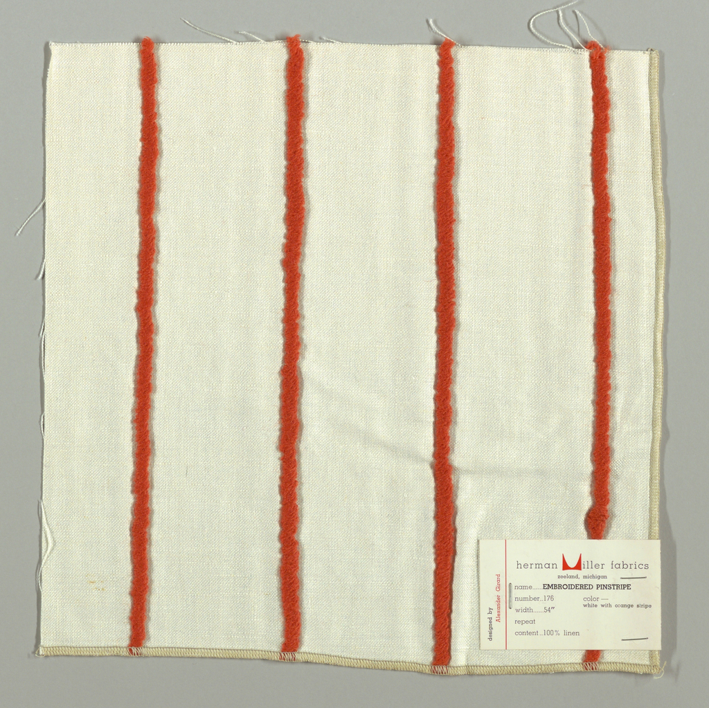 Plain weave in white with applied stripe in orange yarn. Yarn is looped and stitched to the surface of the plain weave.
