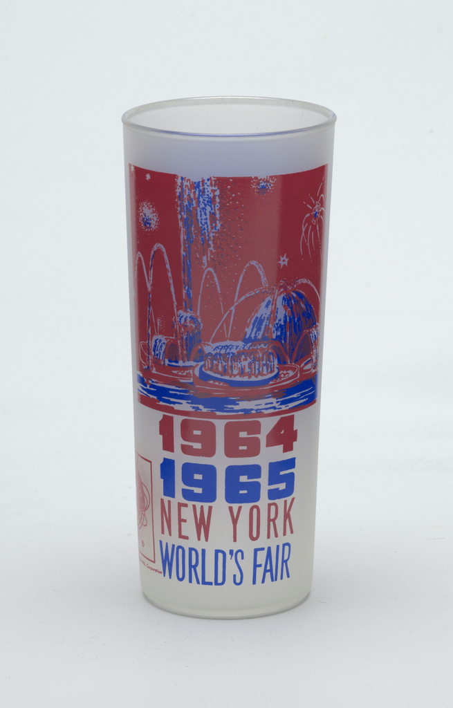 """Tall, slightly tapering cylindrical form of clear """"frosted"""" glass with blue and pink-orange enamel decoration showing the Pool of Industry, """"1964/1965/NEW YORK/WORLD'S FAIR,"""" and Unisphere logo; blue panel with brief paragraph about the Pool on reverse."""