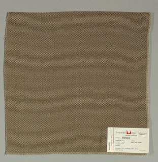 Plain weave with doubled warps and wefts in light brown. Weave structure adds a subtle surface texture. Number 278.