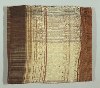 Pillow cover of wool plain weave bound down with cotton thread throughout. Striped pattern in shades of brown, white and black.