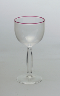 Pink rim glass with hollowed pod-shaped stem (White wine)