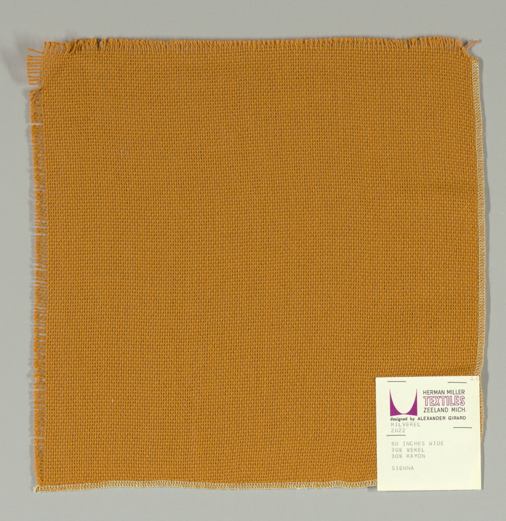 Plain weave in tan. Slightly loose weave structure. Number 2022.