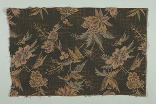 Flowers on a black background.  Upholstery fabric.