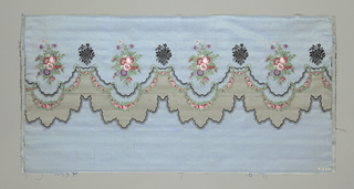 Taffeta fabric with a multicolored border design of two rows of scallops separated by tiny rose garlands. Above are bouquets of flowers, alternately multicolored and black.