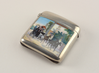 Square, with rounded corners and sides, featuring polychrome enamel coaching scene. Black coach is drawn by white, brown and two black horses on dirt road, past villas with gated and walled gardens, passengers include one woman in blue dress with yellow parasol, woman in pink with red parasol, woman in yellow, several men in dark dress and hats, green trees and dusk sky in background. Reverse of box undecorated, entire reverse surface is concave. Lid hinged on side. Striker recessed in groove on bottom.