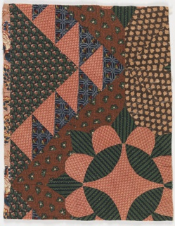 Incomplete medallion and diamond formed of patches of various small-patterned 19th century printed cottons, glazed and unglazed. On reverse, cotton printed in dark purple with large basket of flowers and fruit on swirling picotage ground.