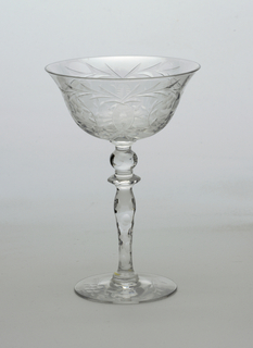 Cut glass decoration; champange saucer