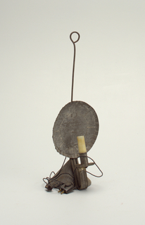 Electrified 19th c. candlestand with flat reflecter at back.