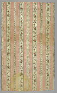 Pink and white striped fabric with floral sprigs.
