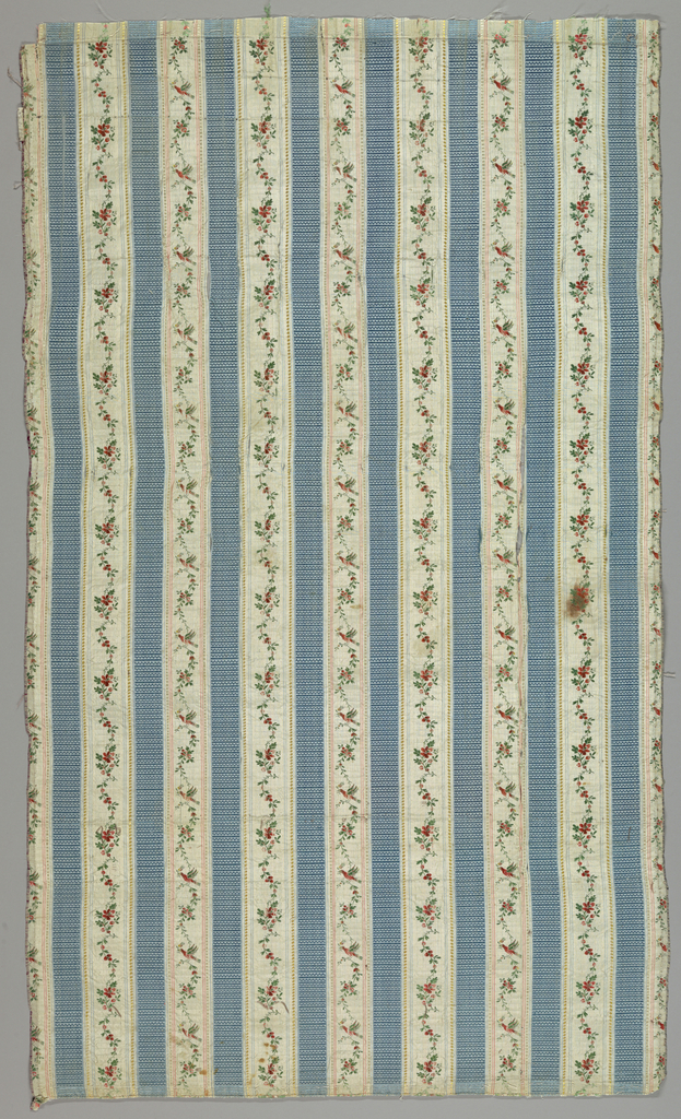 Flowers, birds and vines on blue and white striped fabroc.
