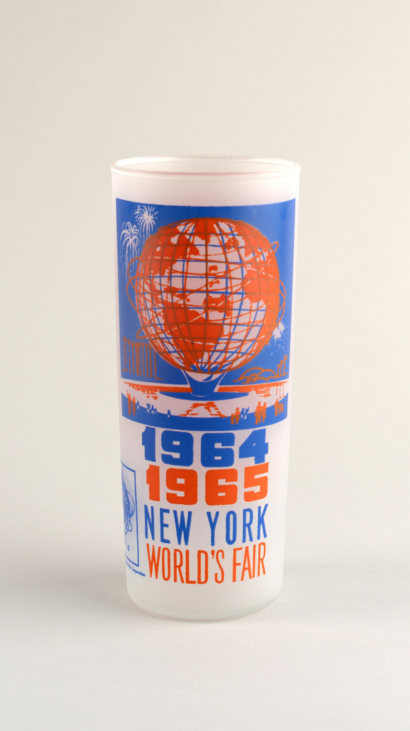 "Tall, slightly tapering cylindrical form of clear ""frosted"" glass with blue and orange enamel decoration showing the Unisphere [the symbol of the fair], ""1964/1965/NEW YORK/WORLD'S FAIR,"" and Unisphere logo; orange panel with brief paragraph about the unisphere on reverse."