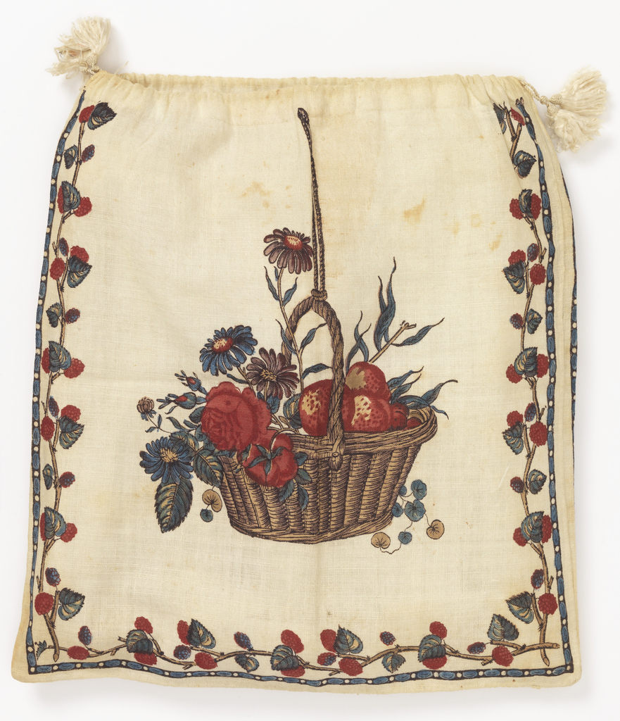 Bag of white cotton printed with a basket of fruit and flowers on each side, with a strawberry vine border and a narrow egg-and-dart border. Drawstring top with silk cord and tassel.