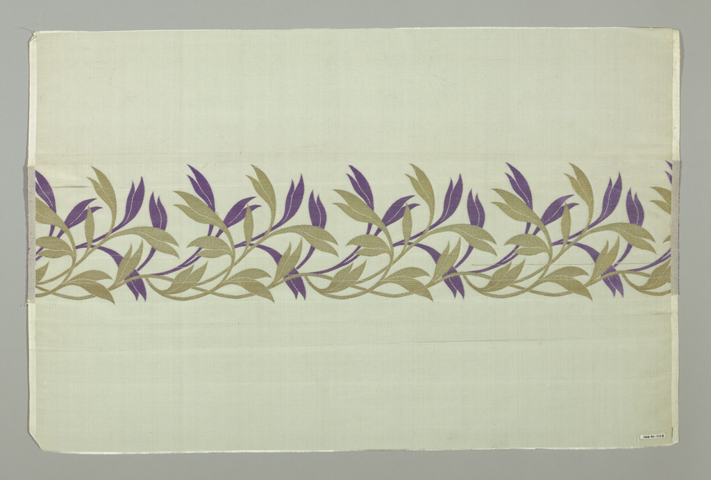 White taffeta with a border design of entwined, scrolling slender stems and tapering leaves.
