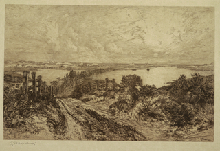 Horizontal rectangle showing a rough road leading from center foreground to left and finally to crude bridge crossing over the pond. A wagon loaded with hay is visible on the bridge and the sun is seen rising at the right.