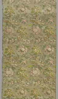 Panel  in the 'bizarre' style made of four widths of silk satin, originally white. Alternating horizontal rows of repeating motifs show a church built on rocks with tall sheltering trees, and disproportionately large pink flowers  and buds with leaves. Backed with silk and linen. Two short ends trimmed with coral and yellow silk fringe.