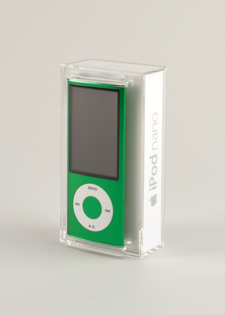 Vertical rectangular form of green aluminum with large rectangular screen above circular white click wheel with control symbols.