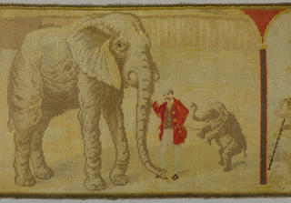 The Circus: horizontal panel with three naturalistic scenes framed in arches. The largest scene shows a large standing elephant with a trainer wearing a red coat and a small rearing elephant. The small panel on the left shows a standing bearded figure wearing a red cloak and in the small panel on the right a standing man wearing an animal skin. Colors in shades of brown, tan, red and yellow (faded).