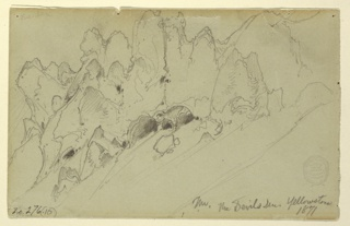 Recto: Horizontal view of the gorge at Devil's Den, Yellowstone. Verso, in opposite direrection: View of same gorge.