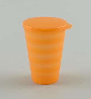 "Large, translucent ""Sunset Orange"" tumbler with frosted finsih, lid/seal, and horizontal wave design for no-slip grip."