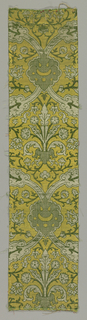 Green, yellow and white ogival pattern.
