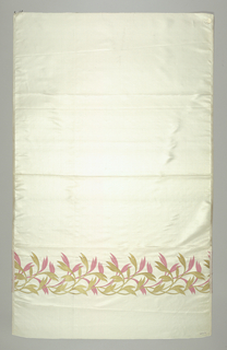 White taffeta with a border design in gold and pink of entwined, scrolling slender stems and tapering leaves.