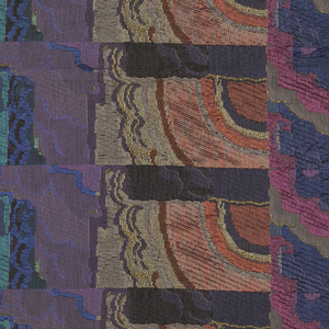 Length of upholstery fabric with two vertical stripes of stepped rectangles, each broken by curves, with the total effect of shimmering water or air currents in an Art Moderne-style landscape. The effect is heightened by the use of dull and lustrous yarns, predominantly blue and purple, with blue-green, dark orange, gray and yellow.