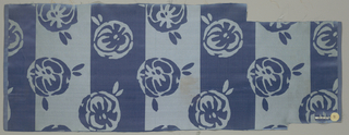 Sample of blue satin with broad vertical stripes alternately satin and vertically ribbed cloth. Staggered horizontal repeat of highly conventionalized rose blossoms in the same technique.