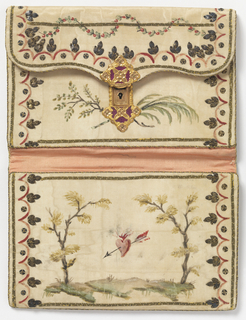 White silk moire card case painted on one side with a maypole beside a small building, and on the other with a quiver of arrows.