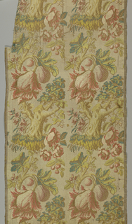 Woven textile fragments. Pattern showing tree stump with fruit and flowers brocaded in yellows, blue, red and browns on a tan ground with horizontal ribs formed by extra wefts.