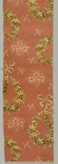 Section of field with Louis XVI wreath repeat and section of border. In shades of light brown on pinkish-orange pile.