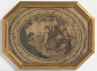 Oval engraved picture of five children playing, with floral and geometric borders. In an octagonal gilt frame.