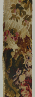 "Length of ""Tapestry Brussels"" carpeting with rich, large-scale floral and leaf pattern with very long repeat, in shades of red, pink, blue, green, mauve, brown, grey, and beige in blurred impressionistic style."