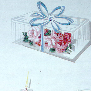 Prom corsages; small clear boxes with grey bottoms containing pink flower with blue ribbons and green leaves and metallic silver outlines on a cream ground.