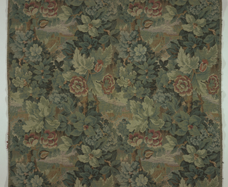 Small rural scenes in luxuriant leaves.  Dark colors, primarily greens.  Straight repeat.  Lengths would repeat as a straight repeat when sewn together.