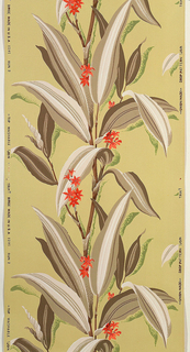 Tan and white bamboo-type stems with tan and brown leaves and red flowers on a lime green ground.
