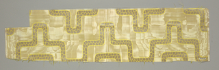 "Sample with moiré ground. Linear design in satin weave has a ""crackle"" pattern."