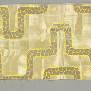 """Sample with moiré ground. Linear design in satin weave has a """"crackle"""" pattern."""