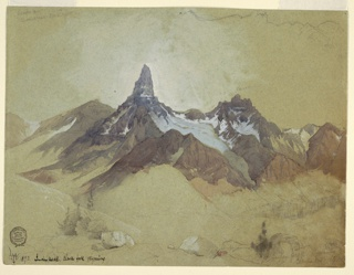 Horizontal view of a pointed rock peak in the middle distance, placed just left of center on the sheet. Brown jagged rocks surrounds white highlighted peak. In the foreground, small green shrubs and rocks rendered in graphite. White gouache sky behind peak.