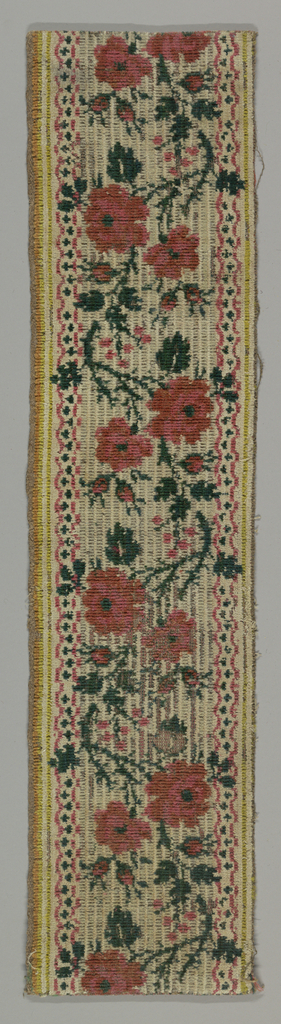Serpentine of roses in deep pinks and green on white ground, edged with scalloped guard bands in same colors; outer pencil stripes in shades of yellow. Brownish hemp ground.