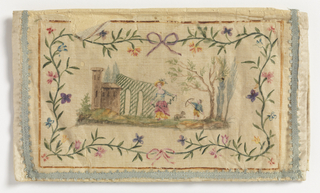 Four country scenes with floral borders are painted on silk and trimmed with blue ribbon.