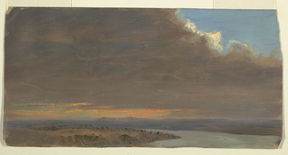 A thin strip of land with the Hudson River winding in the center middle distance; hills visible in right distance.  Dark clouds fill the sky except for a thin orange band of light in the left and center distance and patch of blue in upper right corner.