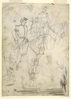 Two vertical sketches of an officer on horseback, with additional sketches of heads.
