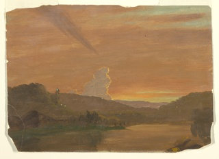 Horizontal drawing of clouds glowing pink; one large white cumulous cloud hands over low hills in the distance.  A lake is in the foreground.