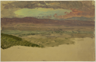 View of mountain range across a valley. Evening sky with browinish red clouds. Along lower edge, brown ground is visible.