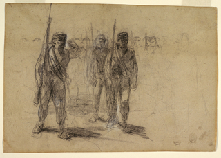 Horizontal view of soldiers drilling or marching.