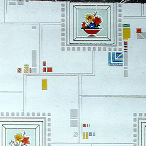 Kitchen paper. Framed squares with red, yellow, blue, and green flowers in red pots on lime green background placed on overall white ground with Mondrian type squares of color and metallic silver highlights. Cubist influence.