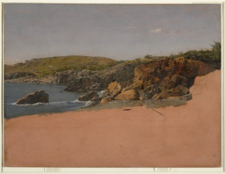 Horizontal view of a small cove with rocky coast covered with grass or bushes. The drawing in unfinished, and the dark orange ground color appears in the lower half.